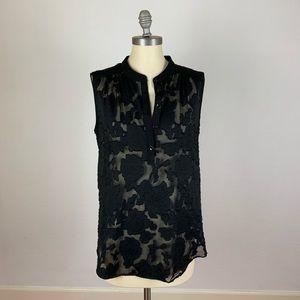CAbi Black Floral Sleeveless Top